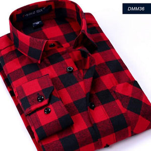 Fashon Men Long Sleeve Camisa Shirts,Plaid Printed Casual England Style Pure Cotton Flannel High Quality Comfortable Shirt Cloth - Lord's Outdoors