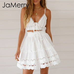 JaMerry 2019 Spring summer lace embroidery white skirt women Boho holiday high waist mini skirts Cute solid beach female skirts - Lord's Outdoors