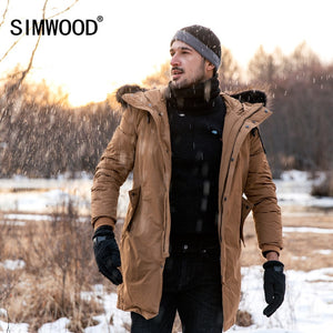 SIMWOOD Winter Duck Down Parka Men Hooded Warm Jacket Slim Fit  Faux Fur Hood  Long Coats 2018 New High Quality  YR017007 - Lord's Outdoors
