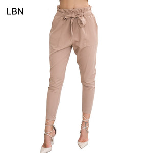 2019 New Brand High Elastic Waist Harem Pants Women Spring Summer Fashion Ninth Pants Female Office Lady Black Trousers Belt - Lord's Outdoors