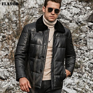 FLAVOR Men's Lambskin Leather Down Jacket Men Down Winter Warm White Duck Down Coat with Removable Sheep Fur Collar - Lord's Outdoors