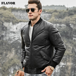 FLavor Men's Real Leather Down Jacket Men Genuine Lambskin Leather Baseball Jacket Warm White Duck Down Coat - Lord's Outdoors