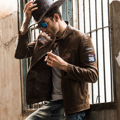 2016 Men's real leather jacket pigskin motorcycle Genuine Leather jacket men pig leather coat air force jacket - Lord's Outdoors