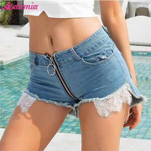ESDAMIER Fashion Women Sexy Jeans Shorts Front Back Zipper High Waist Hole Shorts Women Night Club Shorts Lace Patch Light Blue - Lord's Outdoors