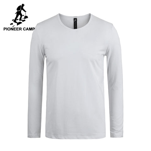 Pioneer Camp new classic solid long sleeve t shirt men brand clothing casual slim fit high quality stretch male t-shirt 209008 - Lord's Outdoors