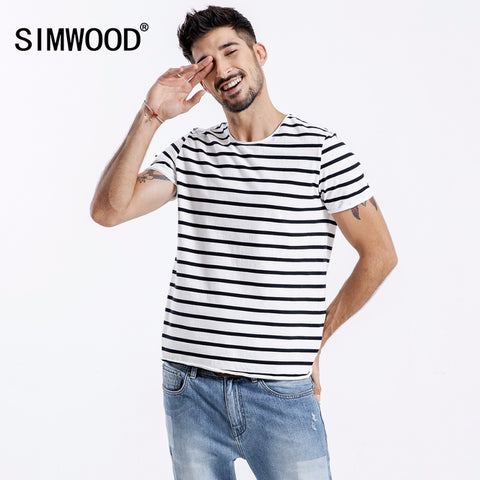 SIMWOOD 2019 Short Sleeve Men T-shirts Fashion Casual Slim Fit Black-White Striped Tops Tees Plus Size Free Shipping 180356 - Lord's Outdoors