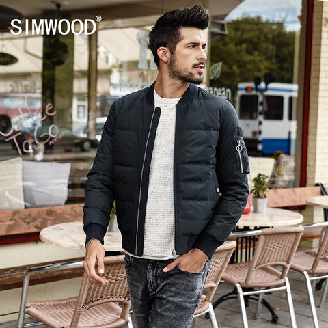 SIMWOOD Winter Jacket Men Slim Fit White Duck Coats Fashion  2018 Autumn Parka Male Slim Fit  Black Bomber Big Size YR017004 - Lord's Outdoors
