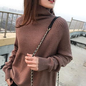 High quality turtleneck sweater ladies winter pullover cashmere sweater solid knit sweater  fall fashion sweater - Lord's Outdoors