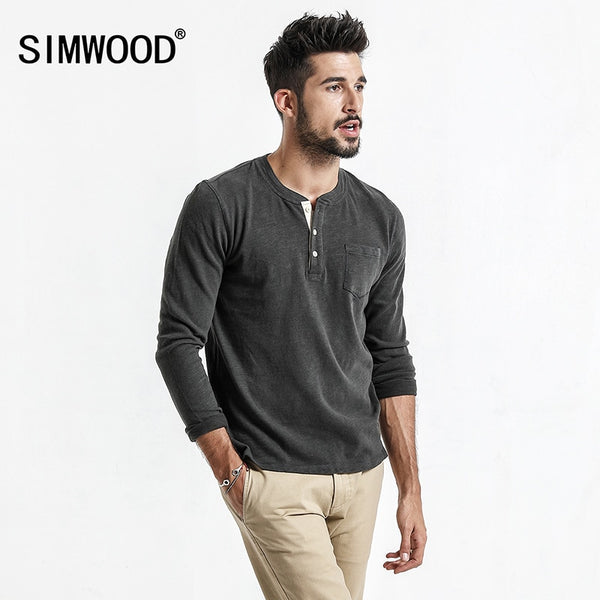 Simwood New Spring Men's spring Long Sleeve T shirt 100% Cotton High Quality Pullover Casual Fashion Brand Clothes - Lord's Outdoors