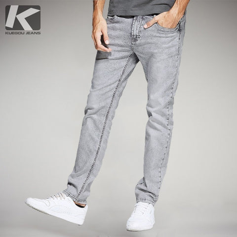 Autumn Men Jeans Cotton Straight Solid Gray Color Pocket For Man Fashion Slim Fit Denim Pants 2018 Male Wear Long Trousers 2391 - Lord's Outdoors