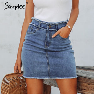 Simplee Sexy pencil denim women skirt Tassel high waist bodycon mini skirt female Casual streetwear jeans summer skirts 2019 - Lord's Outdoors