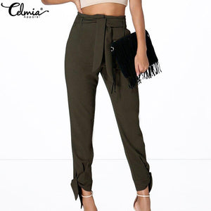 Celmia 2018 Autumn Oversized Women Pants High Waist Casual Knotted Female Waist Belt Loose Harem Pants Elegant Long Trousers 5XL - Lord's Outdoors