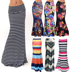 Women's Fashion Plus Size Floor-length Maxi Skirt with Stretch Floral Bodycon Beach Skirt Striped Casual Long Skirt Jupe Falda - Lord's Outdoors