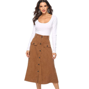 WSYORE Hot Sell Saia Single Breasted High Waist Skirt Women 2018 New Autumn and Winter A-line Mid-long Skirts Women NS831 - Lord's Outdoors