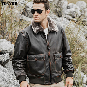 FLAVOR Men's Bomber Real Cow Leather Jacket with Removable Fur Collar Warm Air Force Pilot Cowhide Leather Coat - Lord's Outdoors