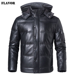 FLAVOR Men's Real Leather Down Coat Men Genuine Sheepskin Biker Winter Warm Leather Coat with Removable Hood - Lord's Outdoors