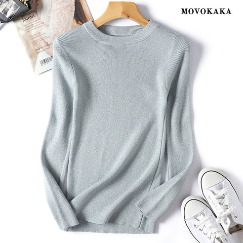 MOVOKAKA Sweaters Women 2018 Autumn Winter Sweater Female Knitted Shiny Lurex Jumper Casual Pull Sweater Female Korean Pullovers - Lord's Outdoors