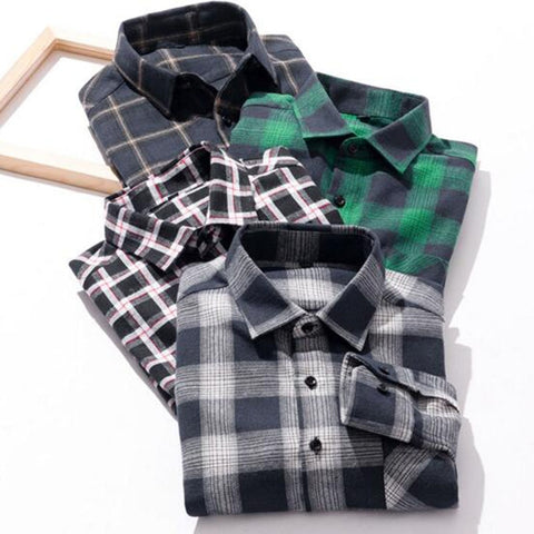 Autumn Winter Hot Men Fashion Grind Long Sleeve Shirts Camisa,Mixed Color Flannel Cotton High Quality Comfortable Shirts Cloth - Lord's Outdoors