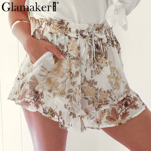 Glamaker Sexy chiffon print high waist short Women loose casual summer white shorts Female ruffles party club beach mini shorts - Lord's Outdoors