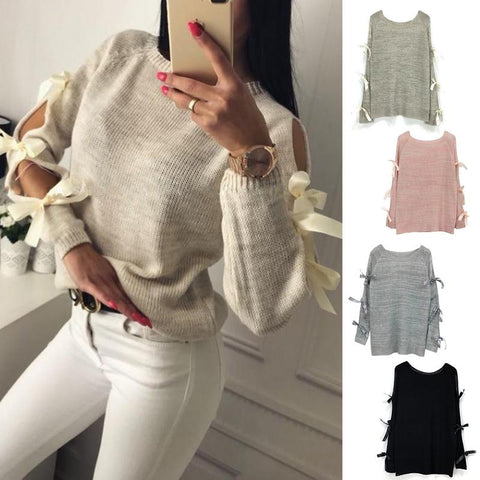 New Women Bow Hollow Out Long sleeve Warm Sweater Pullover Knitting Bow Loose O-Neck Tops Blouse Knitwear - Lord's Outdoors
