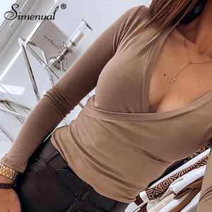 Simenual Criss cross V neck t shirts women long sleeve top sexy fitness basic solid t shirt cotton femme spring fashion new - Lord's Outdoors