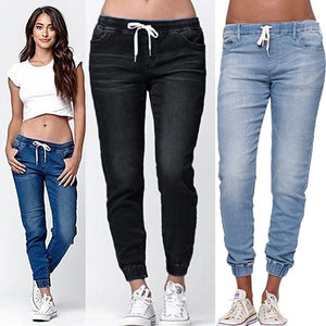 Brand NEW  Women's Casual Denim Jogger Pants Ladies Drawstring Elastic Waist Jeans Solid Size S-5XL - Lord's Outdoors