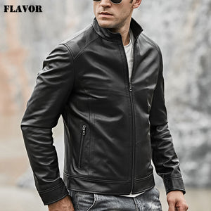 2018 Men's Real Leather Motocycle Jacket Lambskin Genuine Leather with Zipper Closure Winter Coat Black - Lord's Outdoors