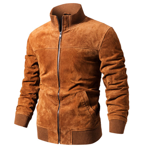 FLAVOR Men's Real Leather Jacket Men Pigskin Slim Fit Genuine Leather Coat With Rib Cuff Standing Collar - Lord's Outdoors