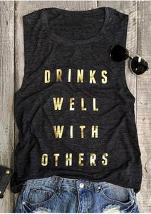 VESSOS Women Casual Top Tees Drinks Well With Others Tank Dark Grey Summer Casual Letter Printed Sleeveless Tank Tops - Lord's Outdoors