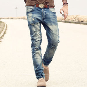 new men's jeans Ripped Holes pants Korean style elasticity casual trousers cool stretch man denim pants spring and summer K576 - Lord's Outdoors