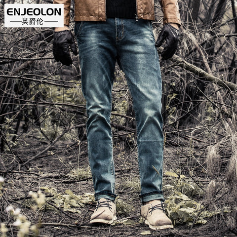 Enjeolon Brand 2019 New Men Denim Jeans Fashion Mens Casual Slim Fit Straight Long Trousers For Male Pants K6003 - Lord's Outdoors