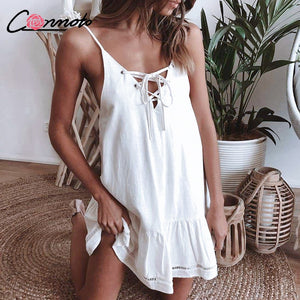 Conmoto Spaghetti Strap Sexy Women Dress Ruffles Lace Up 2019 Casual Summer Dress Solid Hollow Out Dresses Vestidos - Lord's Outdoors