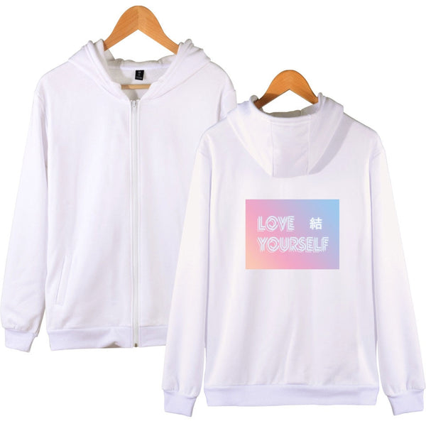 LUCKYFRIDAYF Hot Sale Hoodies Women Autumn BTS Love Yourself Answer Zipper Hoodies Sweatshirts Fashion Kpop Soft Fashion Clothes - Lord's Outdoors