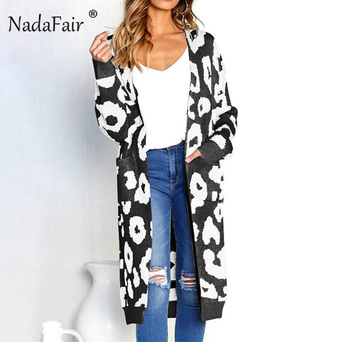 Nadafair leopard print long cardigans winter clothes women open stitch autumn pockets slim casual knitted sweater coat plus size - Lord's Outdoors