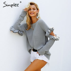 Simplee Elegant ruffles winter sweater pullover Women Hollow out long sleeve loose pullover female warm autumn casual jumper - Lord's Outdoors