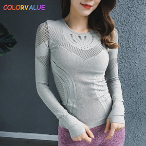 Colorvalue High Stretchy Seamless Sport Long Sleeve Shirts Women O neck Hollow Out Fitness Workout Tops Solid Mesh Gym Jersey|Yoga Shirts - Lord's Outdoors