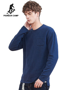 Pioneer Camp New Men's Brand Clothing Thick Casual Solid Stretch Long Sleeve Pocket T-Shirt - Lord's Outdoors