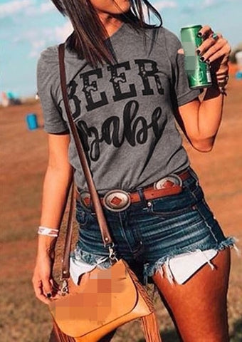 Fashion Women T-Shirt Short Sleeve Tops Tee Beer Babe Short Sleeve T-Shirt Fashion Female Harajuku t shirt Ladies Tops Tee - Lord's Outdoors