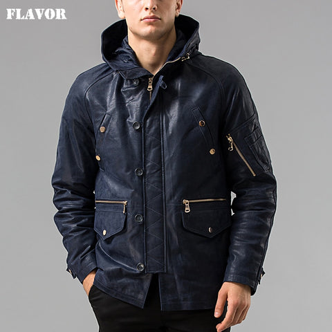S-6XL Winter Men's Pigskin real leather jacket Hooded hat Detachable Genuine Leather jacket male overcoat - Lord's Outdoors
