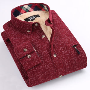 New Winter Casual Shirt With Velvet Shirt Men Plaid Thick Warm And Long Sleeve Large Size Men's Inside Wear Shirts - Lord's Outdoors