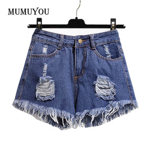 Multicolor Denim Shorts Women Lady High Waist Ripped Tassel Hot Hole Short Pants Jeans Oversized Plus Size Fashion 201-A004 - Lord's Outdoors
