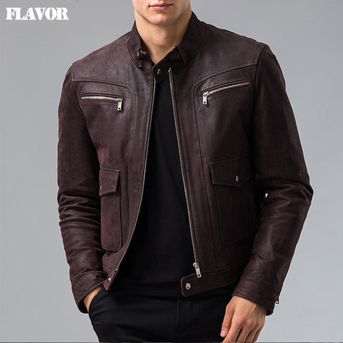 Men's Genuine Leather jacket Pigskin real leather jacket men motorcycle leather coat S-6XL big size - Lord's Outdoors