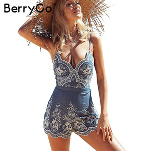BerryGo strap summer jumpsuit women rompers  Embroidery V neck zipper elegant jumpsuit Floral playsuit 2019 sexy short overalls - Lord's Outdoors