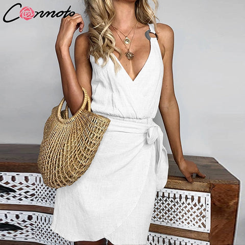 Conmoto Wrap Summer Short Sexy Dress Women Beach Casual Mini Dress Solid Bow 2019 Deep V Neck Dress Vestidos - Lord's Outdoors