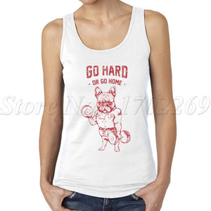Go Hard Or Go Home Frenchie women tank tops Do You Even Lift lady sportVest Pug Squat cartoon printing women camisole - Lord's Outdoors