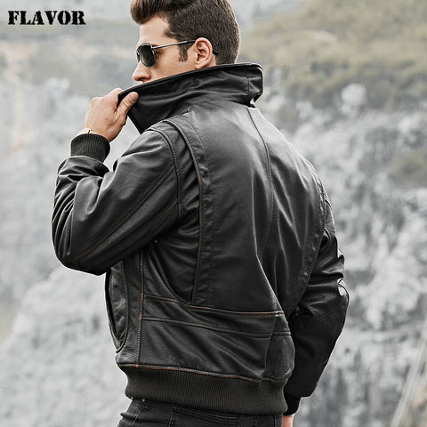 FLAVOR Men's Real Cow Leather Bomber Jacket Men Cowhide Genuine Leather Jacket Air Force Winter Warm Aviator Coat - Lord's Outdoors