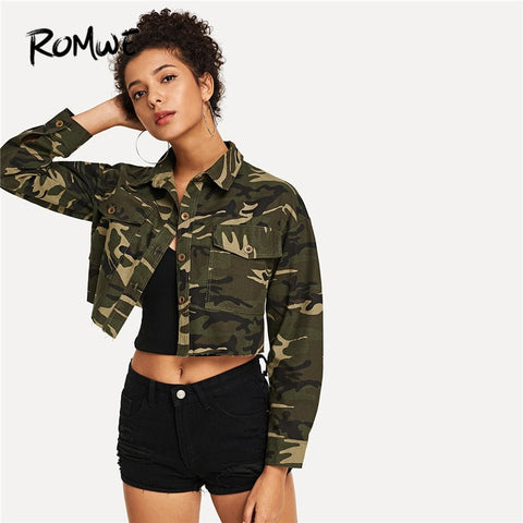 5410403e04a0f ROMWE Multicolor Casual Campus Camouflage Print Pocket Single Breasted Crop  Jacket Autumn Women Highstreet Coat Outerwear