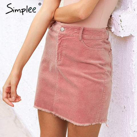 Simplee Vintage corduroy pink pencil skirt Fashion streetwear metal button zipper short skirt 2017 New autumn mini skirts womens - Lord's Outdoors