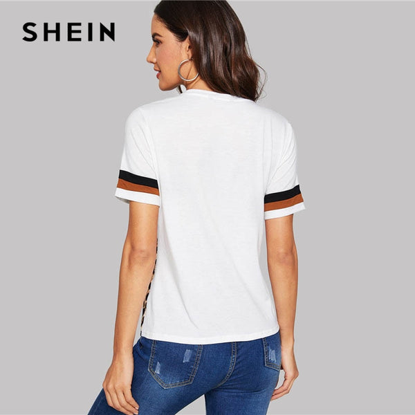 SHEIN White Color Block Cut-and-Sew Leopard Panel Top Short Sleeve O-Neck Casual T Shirt Women Summer Leisure Tshirt Tops - Lord's Outdoors