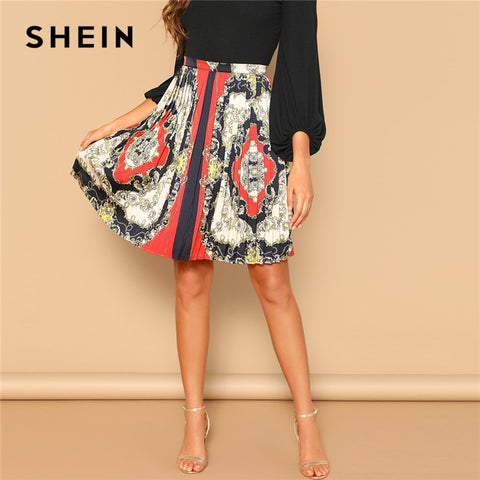 SHEIN Vintage Scarf Print Multicolor Zip Detail Mid Waist A Line Mini Pleated Skirt Women 2019 Summer Elegant Workwear Skirts - Lord's Outdoors